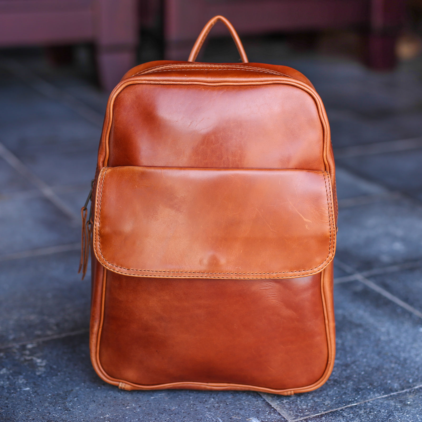 Da Bao Real Leather Hoi An - Leather Bags: Brown Leather Backpack