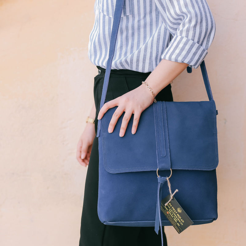 Hoi An Real Leather - Da Bao Real Leather - Blue Leather Women's Bag