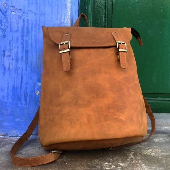 Hoi An Real Leather - Da Bao Real Leather Hoi An: Light-brown real leather backpack