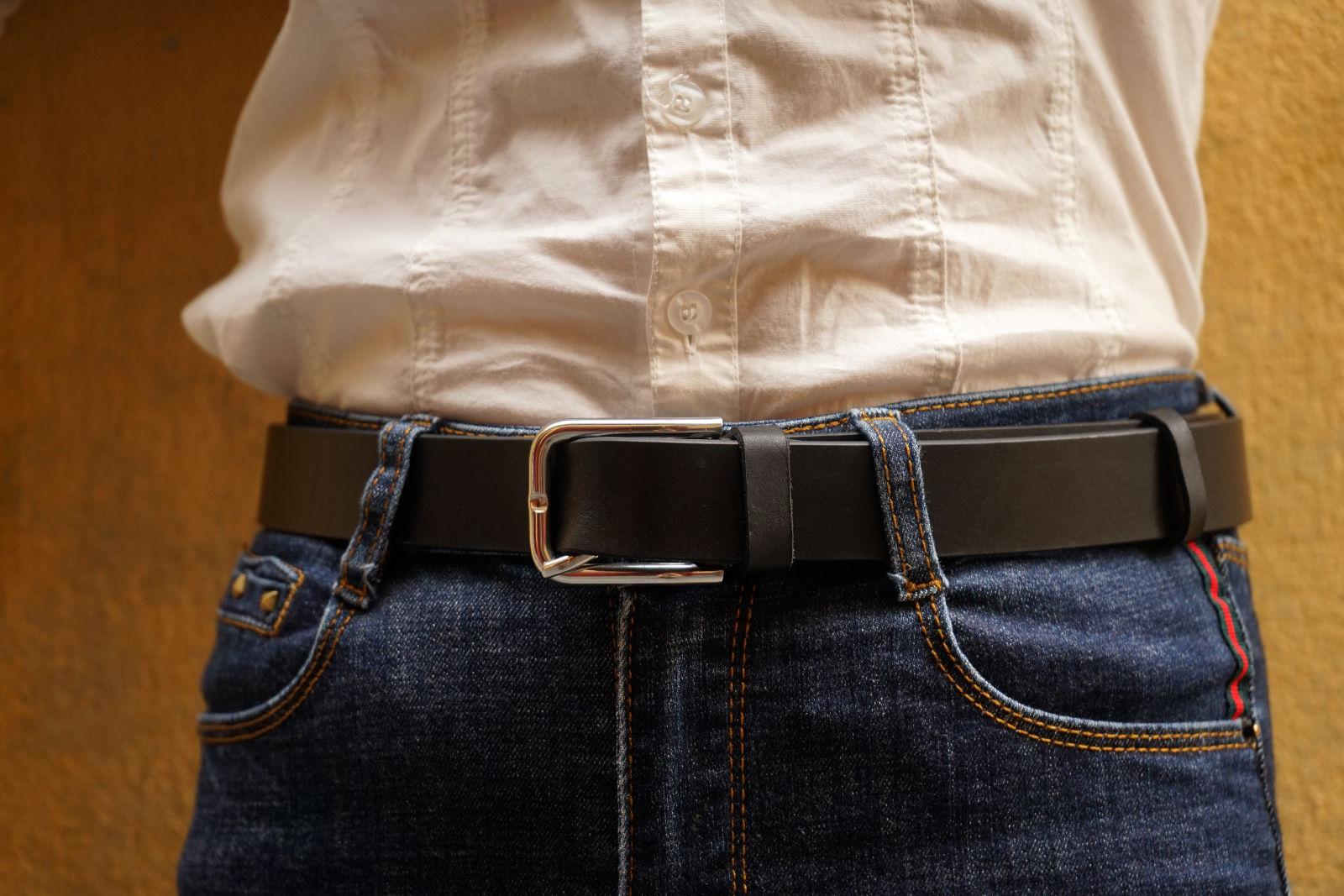 Hoi An Real Leather - Da Bao Real Leather: Classic black buffalo leather belt