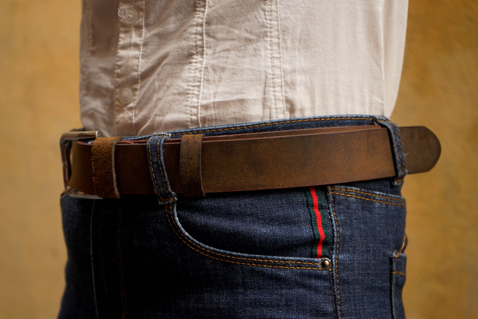 Hoi An Real Leather - Da Bao Real Leather: Brown vintage style buffalo leather belt