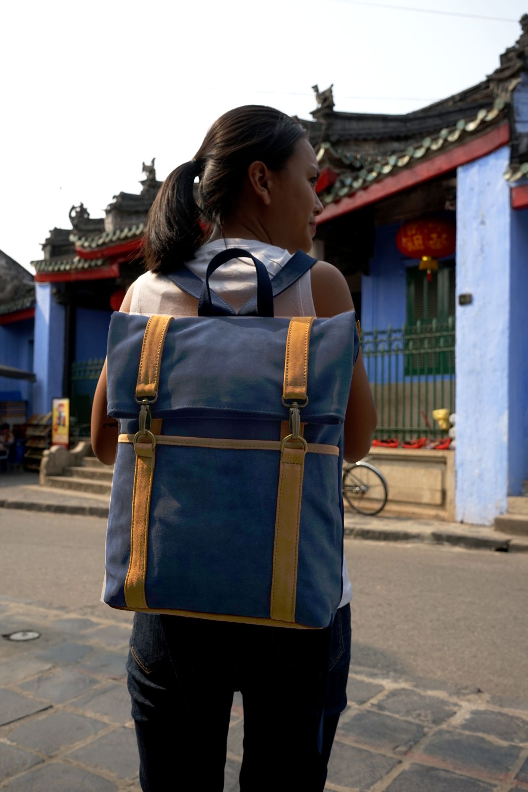 Hoi An Real Leather - Da Bao Real Leather: Suede buffalo leather messenger backpack. Blue color with light-brown decoration. Spacious and easy to carry backpack in vintage style. .