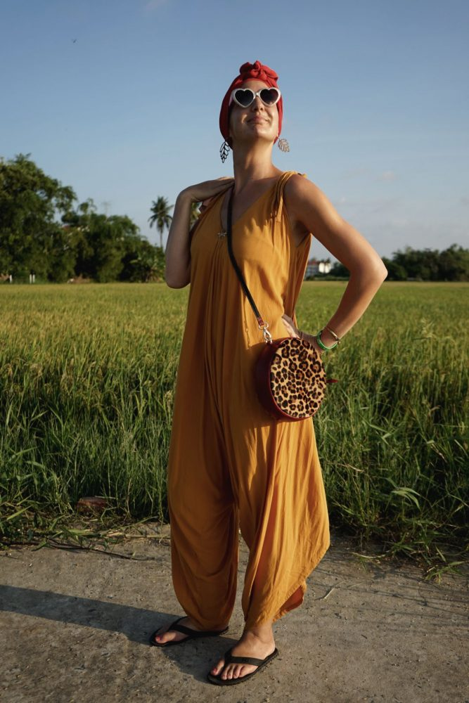 Hoi An Real Leather - Da Bao Real Leather: Leopard print bag for women with red leather strap