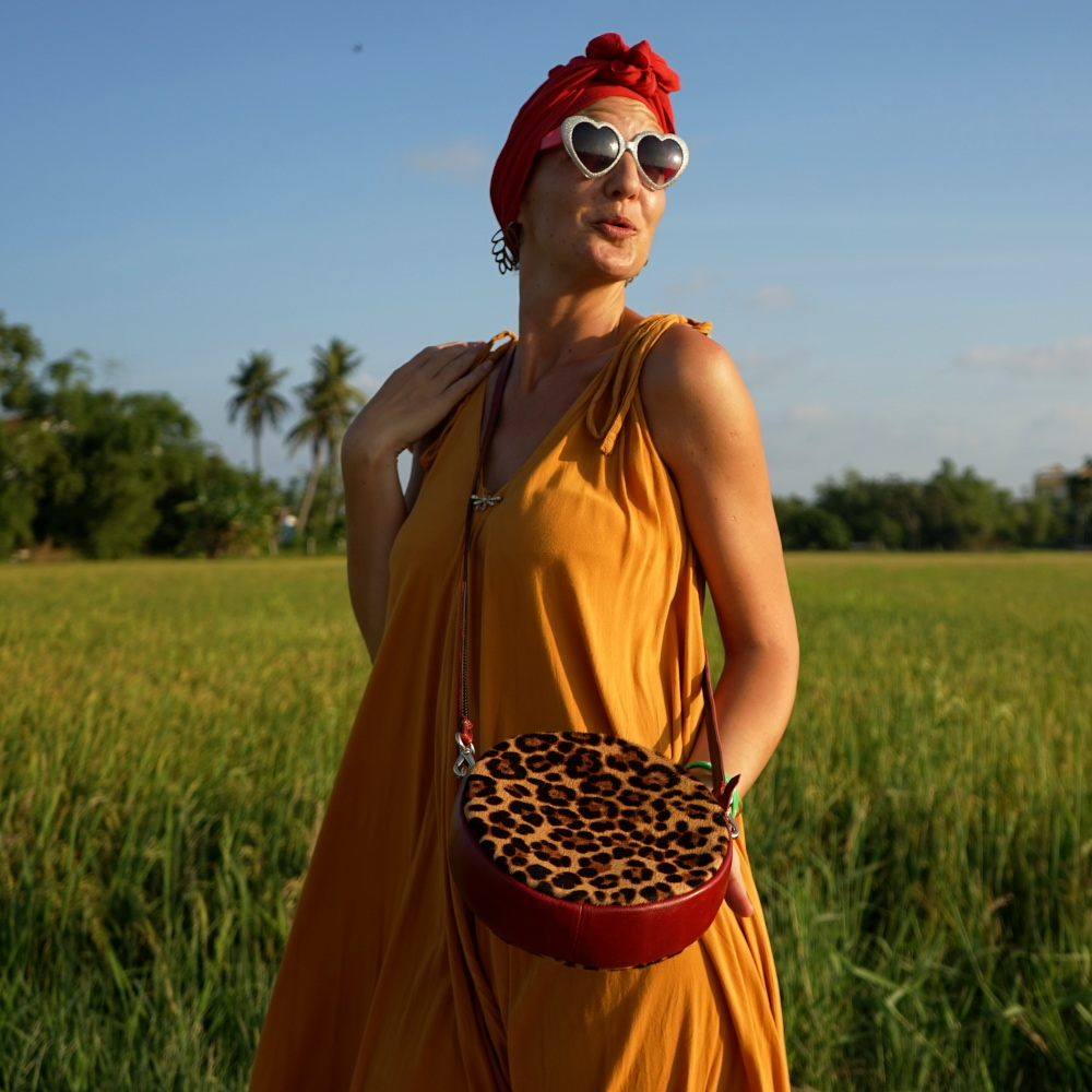 Hoi An Real Leather - Da Bao Real Leather: Lady Alopecia loving her fun leopard print bag bag!