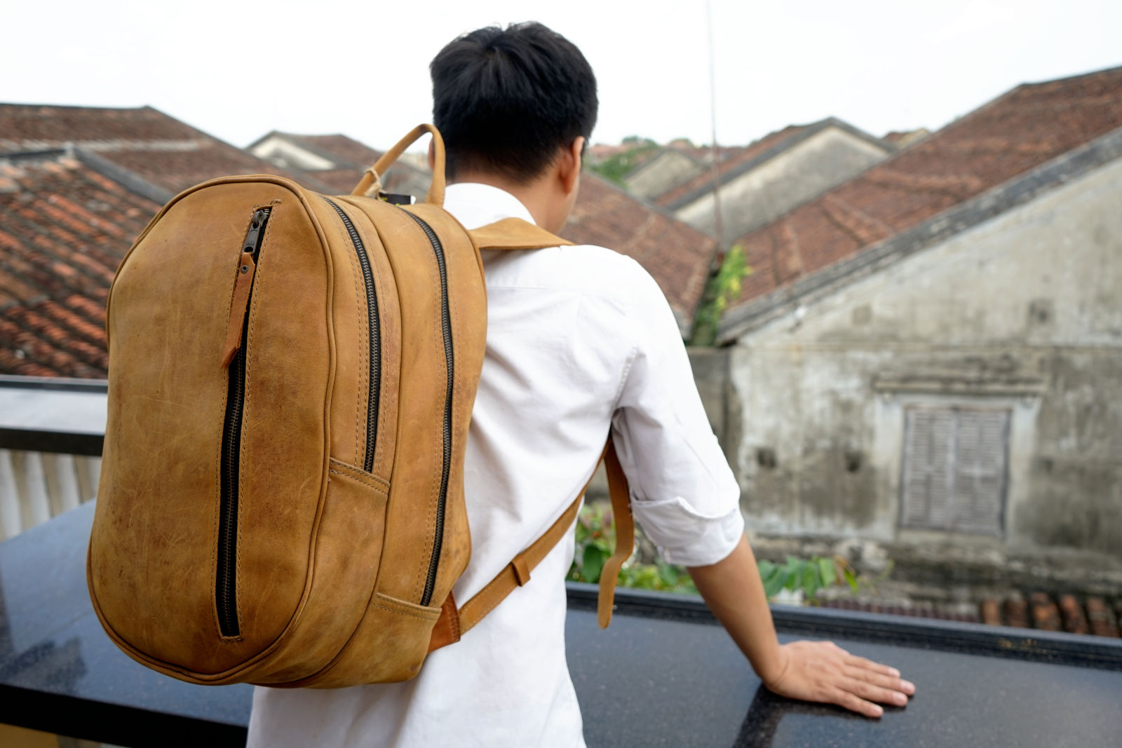 Hoi An Real Leather - Da Bao Real Leather: Big Suede Leather Backpack for weekend trips for work