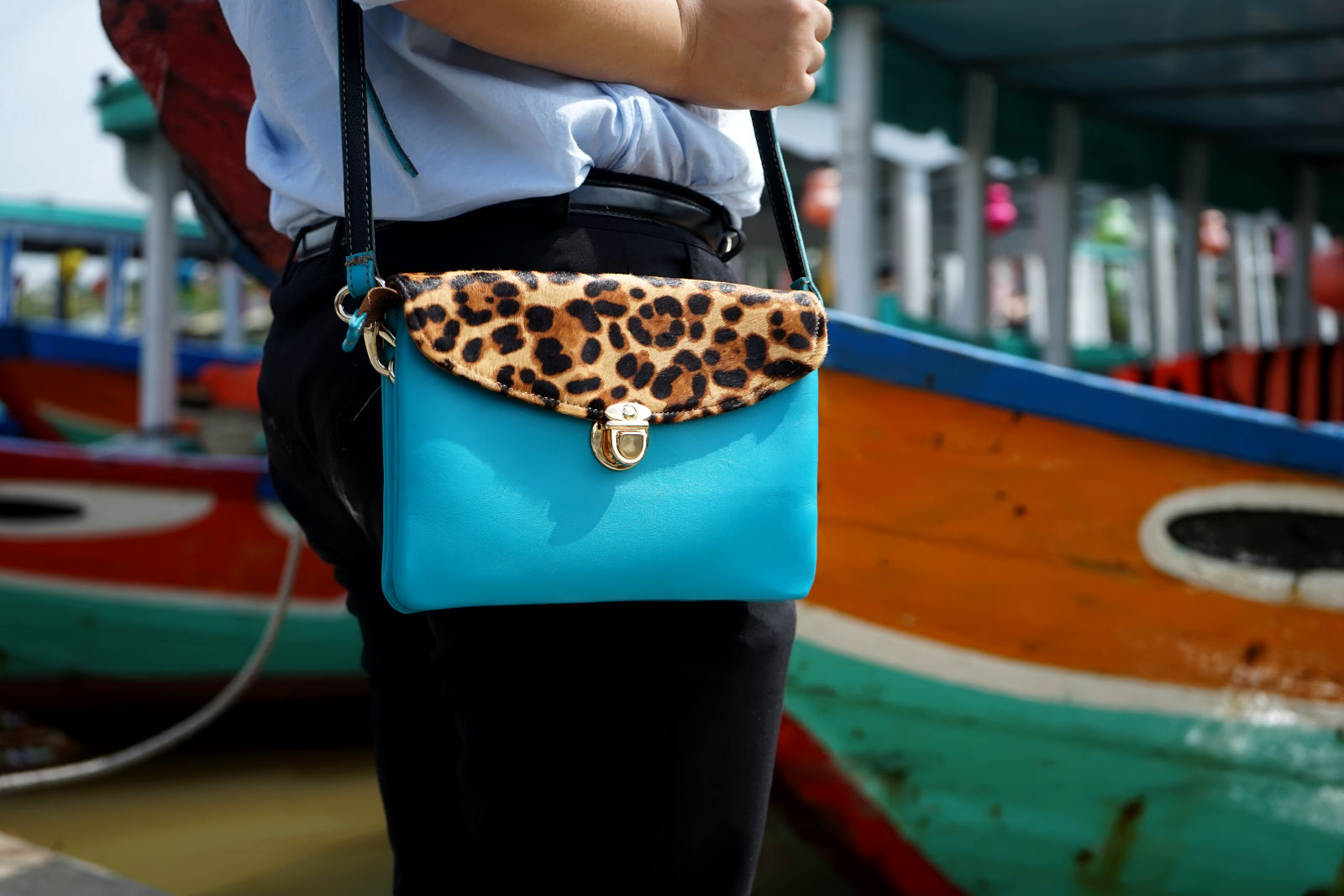 Hoi An Real Leather - Da Bao Real Leather: Leather handbags - Turquoise Leopard Handbag