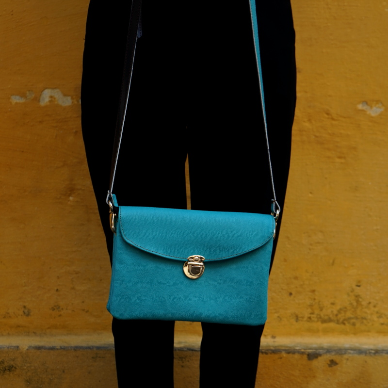 Hoi An Real Leather - Da Bao Real Leather: Leather Bags - Turquoise mini handbag.