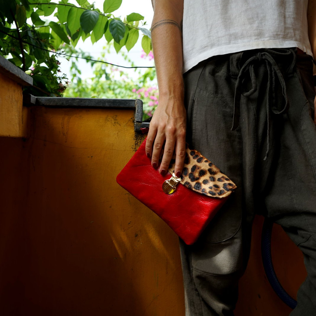 Hoi An Real Leather - Da Bao Real Leather: Leather handbags - Red Leopard Print Handbag